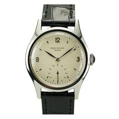 patek philippe stainless steel wristwatch ref 565 circa 1950s 34 mm.