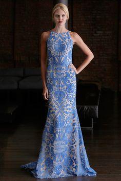 blue and white long dress, stunning.