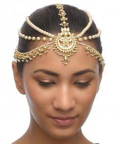 Indian #Jewelry ~ Pearl Maatha Patti with Kundan Drop Pendant