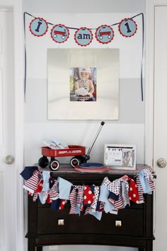 Project Nursery - Red Wagon 1st Birthday Party Display