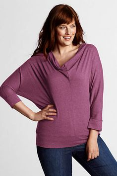 Women's Plus Size Dolman Sleeve Drapeneck Top from Lands' End