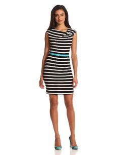 Calvin Klein Women's Short Sleeve Stripe with Belt - List price: $98.00 Price: $34.97 + Free Shipping