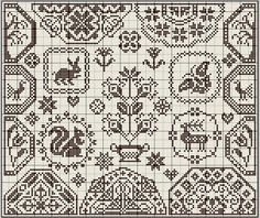 sampler motifs Quaker cross stitch