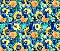 Van Gogh's Sunflowers   Blue Box fabric by bohobear on Spoonflower - custom fabric