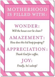 Motherhood Facts - Mother's Day Greeting Cards - Magnolia Press - Heather - Pink : Front