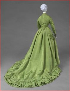 Worth & Bobergh 1866-1867 Green Silk Dress. Paris, via Philadelphia Museum of Art.
