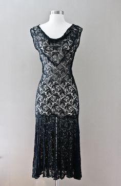 1930s Lace Dress - Black Sleeveless Bias Cut Flapper. $248.35, via Etsy.