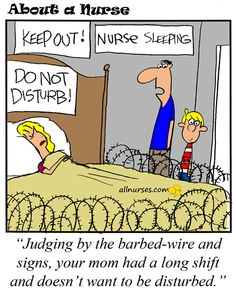 Cartoon: Keep out! Nurse Sleeping - About A Nurse - Nursing Cartoon Series