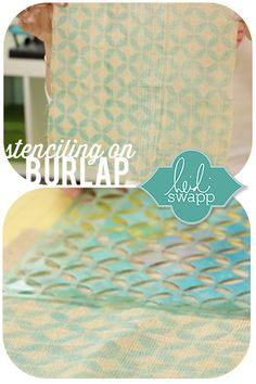 Add patterns to regular burlap using Heidi Swapp stencils and Color Shine! So easy- Video Tutuorial