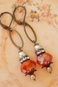 Elise.burnt orange crystal beadedrhinestone drop by tiedupmemories, $19.00