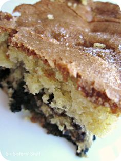 Lemon Blueberry Muffin Cake.  The delicious taste of homemade muffins in one, easy dish from sixsistersstuff.com #muffins #recipe