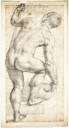 Agnolo Bronzino -  Standing Male Nude with Back Turned, black chalk, 1565 - 1569