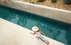 Pool with agaves and