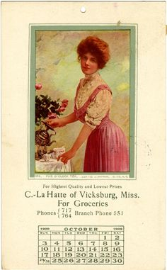 "Cooper Postcard Collection  ""For Highest Quality and Lowest Prices C.-La Hatte of Vicksburg, Miss. For Groceries Phones {717 764 Branch Phone 551.""  Vicksburg, Mississippi, Warren County, 1909"