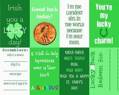 St. Patrick's Day Lunchbox Notes