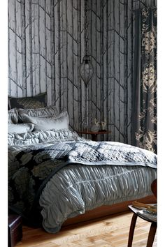 Grey on grey :: #Anthrofave grey interiors, grey bedrooms