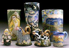 Jane Peiser, salt glazed colored porcelain.