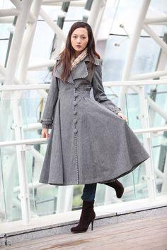 Grey Cashmere Coat Big Sweep Women Wool Winter Coat Long Jacket Tunic - NC222. $179.99, via Etsy.