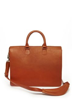Claire Chase's Saddle Cowhide Leather Sarita Briefcase w/ Dust Bag