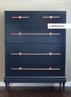 DIY copper pulls for mid-century dresser