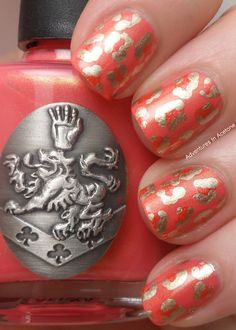 coral & gold leopard