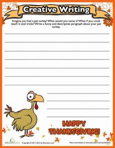 Thanksgiving Creative Writing #2 Worksheet