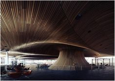 The Senedd, Cardiff  The undulating ceiling of the senedd (the welsh assembly) was designed by Richard Rogers, the architect chosen to develop tower 3 of the world trade center reconstruction.