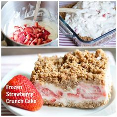 MYO Frozen Strawberry Crunch Cake! A creamy frozen treat made with fresh strawberries and topped with crunchy Nature Valley granola bars. Easy to make and perfect for a hot summer day!
