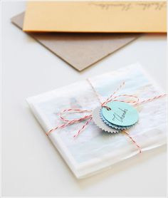 envelope: envelope bakers twine and tags