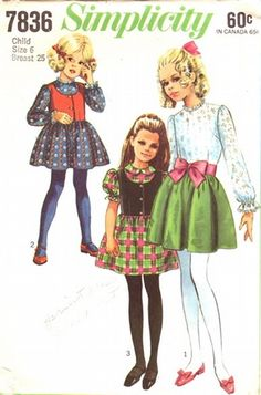 Simplicity Pattern 7836 Vintage 60's Girls Party Dress and Vest! Complete Size 6
