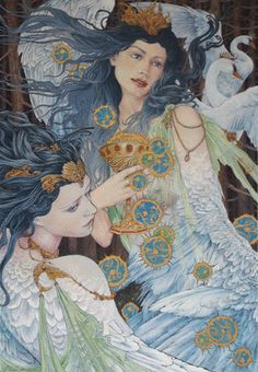 Original artwork by Ed Org depicting the Irish tale of 'Oidheadh Chloinne Lir' or 'The Fate of the Children of Lir'