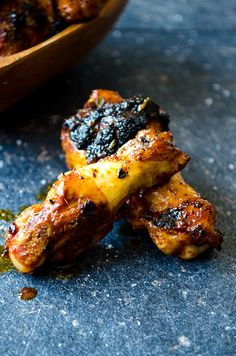 Sticky Chicken Wings are made in a cast iron pan. Wings are marinaded in a sweet-savory mixture for 2 hours. Feel free to lick your fingers when gobbling! | giverecipe.com | #chicken #chickenwings #chickenrecipes #appetizer #partyfood