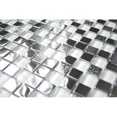 Square Mixed Steel Tile With White Glass And Textured Metal