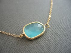 Asymetrical Aqua Necklace  Gold Necklace by JulianaWJewelry, $28.00