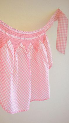 Smocked gingham apron