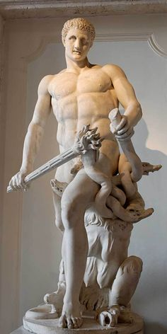 Heracles and the Hydra -  Heracles was the son of Zeus and jealous wife Hera. having to suffer the vengeful persecution of Hera. His first exploit, in fact, was the strangling of two serpents that she had sent to kill him in his cradle.