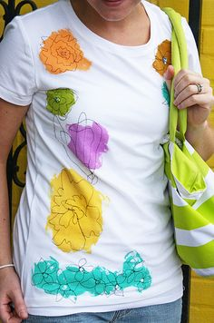 cute! paint on shirt. then stitch