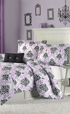 Mizone Bedding for Girls I love it purple with demask prints...