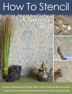 How to stencil an Ikat fabric effect on walls with Chalk Paint® decorative paint by Annie Sloan and the Khanjali Ikat stencil from Royal Design Studio.