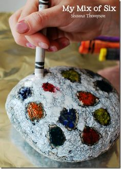 crayon rocks - You take rocks and bake them on a foil lined cookie sheet at 350 for 15 minutes.  Then you take your crayons and go to town on your rock.  The hot rock melts the crayon to it as you draw.