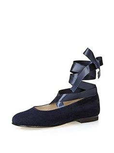 Gallucci Kid's Ballet Flat with Ankle Ribbons (Velluto Blu)