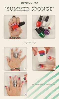 Summer Sponge manicure nail art. DIY. Make up sponge.