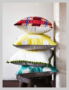 Stack of Deco cushions.