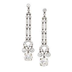 Marzo A Pair Of Art Deco Diamond Ear Pendants