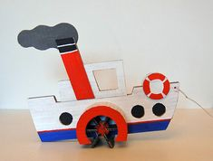 steamship pull toy from diaper box, handmadecharlotte