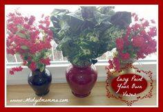 Easy Painted Vases you can paint them to match any room in the house! They are great because you can find vases super cheap at yardsales and thrift stores!