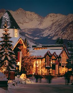 Gorsuch store front at night in Vail Village