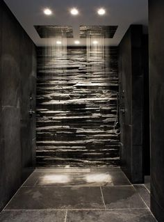 Slate and stone bathroom | #natural #slate #bathroom #design #interior idea, shower heads, design interiors, bathrooms, stone walls, bathroom designs, hous, bathroom showers, dream shower