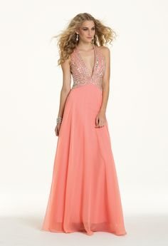 Camille La Vie Chiffon Beaded Plunge Prom Dress