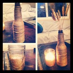 DIY holiday decor - glitter votive and jute wrapped beer bottle -done
